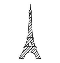 monochrome silhouette of eiffel tower to striped vector image