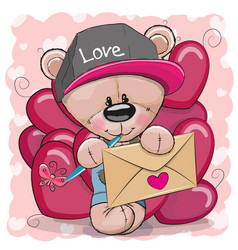 valentine card with cute cartoon teddy bear vector image