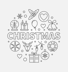christmas round symbol in thin line style vector image vector image