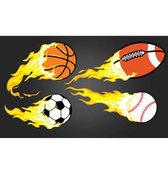 collection of burning sports ball vector image vector image