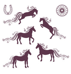 collection of of horses vector image vector image