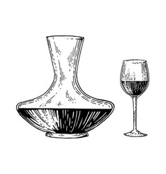 Decanter and wine engraving style vector