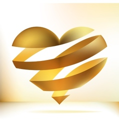 Golden heart on beidge EPS8 vector image vector image