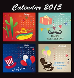 Holiday Calendar 2015 of May June July August vector image