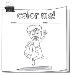 Worksheet showing a boy vector image