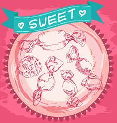 Candy sketch Vintage Poster Pink and blue vector image