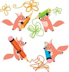 fox and pencil vector image vector image