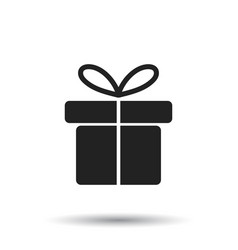 Gift box icon flat on white background vector