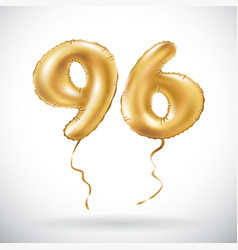 golden number 96 ninety six metallic balloon vector image vector image
