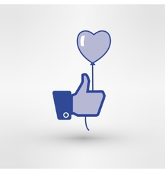 Hand holding heart baloon icon Thumb up vector image
