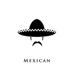 mexican hat sombrero and mustache vector image