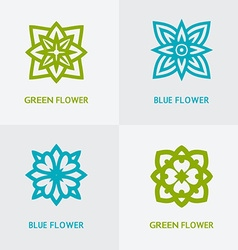 natural floral logo set vector image