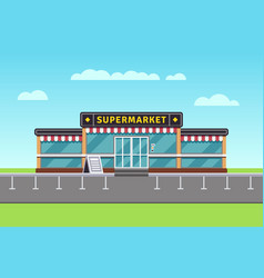 supermarket building shopping market mall vector image