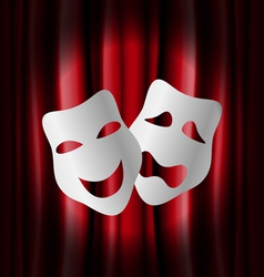 Theater masks with red curtain vector image