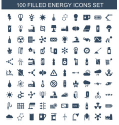 100 energy icons vector