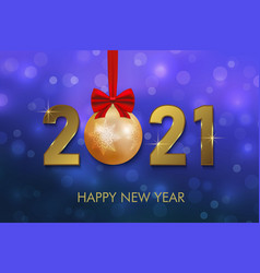 2021 new year background with gold numbers vector