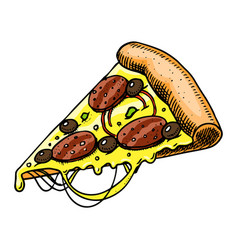 a slice pizza fast food in vintage style hand vector image