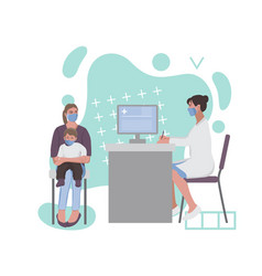 A woman with child at doctor appointment vector