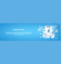 analysis time horizontal web banner with copy vector image
