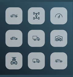 Automobile icons line style set with truck garage vector