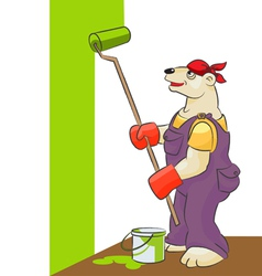 Bear white is the painter vector image