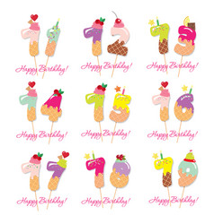 birthday card set festive sweet numbers from 71 vector image