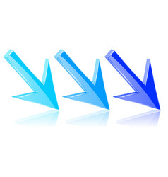blue down 3d arrows shiny bright signs with vector image