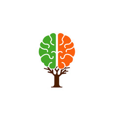Brain tree logo vector
