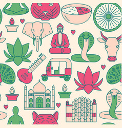 bright india seamless pattern in colored line vector image