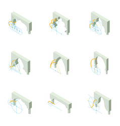 Build an arch icons set isometric style vector