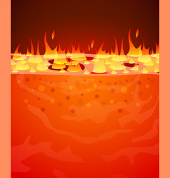 burn flame fire background hell lava vector image