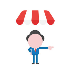 Businessman character under shop store awning and vector