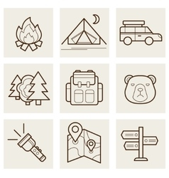 Camping and Outdoor Outline Icons vector image