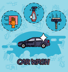 Car wash flat concept icons vector