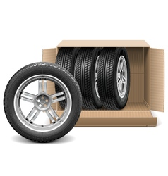 Car Wheels in Carton Box vector image