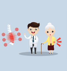caring for elderly doctor talking with vector image