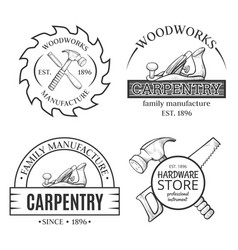 Carpentry works line art set with logo vector