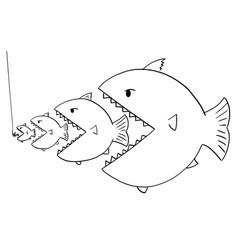 Cartoon drawing line bigger fish eating vector