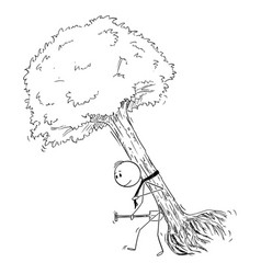 Cartoon man carrying big tree to plant vector