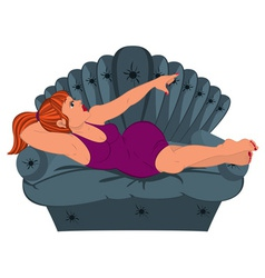Cartoon woman in purple dress lying on the couch vector image