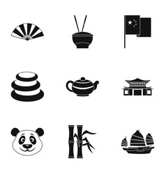 Chinese icon set simple style vector
