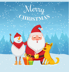 christmas background with funny characters santa vector image