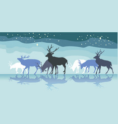 Colorful panorama with walking deers females vector
