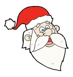 Comic cartoon jolly santa claus face vector