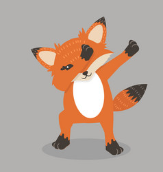 Cute fox dub dancing sign vector