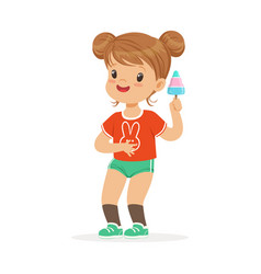 cute little girl character feeling happy with her vector image