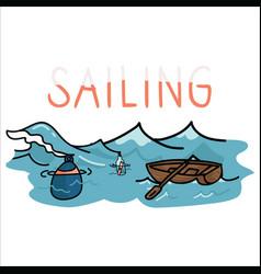 Cute sailing set cartoon motif vector