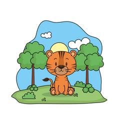 Cute tiger in landscape vector