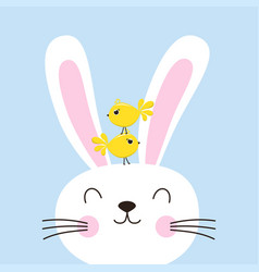 Easter bunny with birds vector