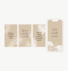 Elegant gold tropical florals stories templates vector